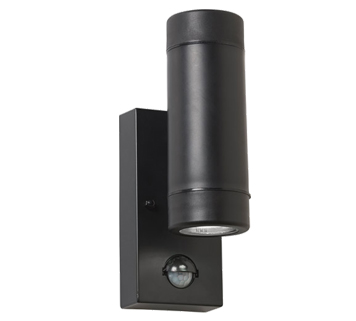 Endon Icarus PIR 2 Light Outdoor Wall Light, Black Polypropylene & Clear Polycarbonate Finish - EL-40123