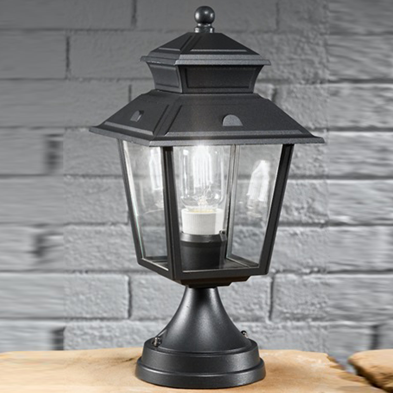 Ashland Pedestal Lantern In Weathered Zinc: Black Outdoor Pedestal Lights From Easy Lighting