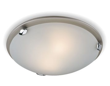 Firstlight Champagne Flush Fitting Ceiling Light, Satin Steel Finish - F350SS