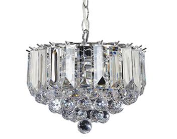 Crystal pendant lights from easy lighting endon fargo 3 light small pendant ceiling light chrome plate clear acrylic aloadofball Gallery
