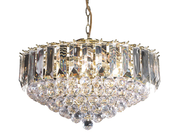 Endon Fargo 6 Light Pendant Ceiling Light, Brass Plate Finish With Clear Acrylic - FARGO-18CH