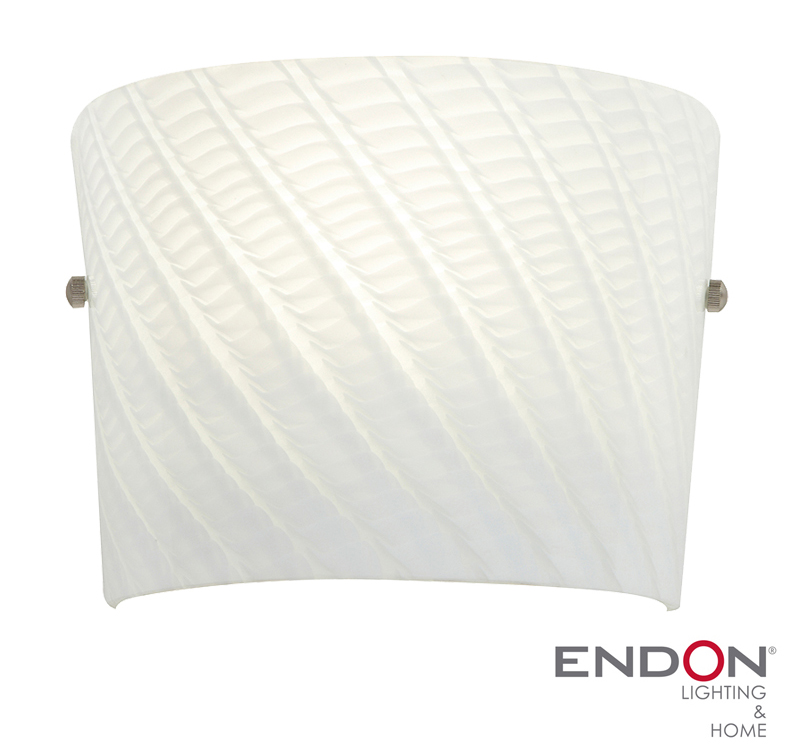Endon Farina Patterned Glass Wall Light, White - FARINA-1WBWH from Easy Lighting