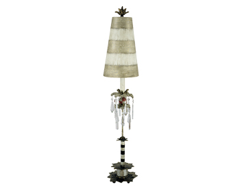 Elstead Birdland Table Lamp, Black & White With Crystal Finish With Striped Shade - FB/BIRDLAND/TL