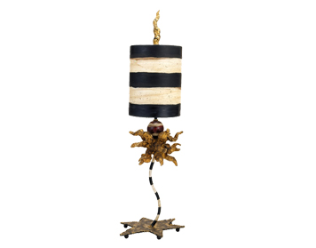 Elstead Dominique Table Lamp, Black & Cream With Gold Leaf Finish, With Striped Shade - FB/DOMINIQUE TL