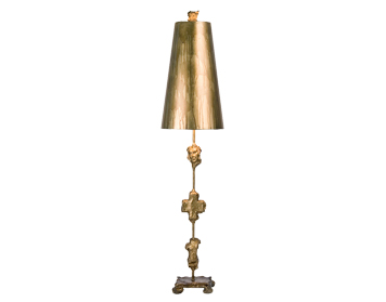 Elstead Fragment 1 Light Table Lamp, Aged Gold Finish With Shade - FB/FRAGMENT-TL-G