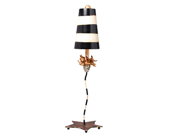 Elstead La Fleur 1 Light Table Lamp, Black & Putty With Gold Leaf Finish With Shade - FB/LAFLEUR/TL
