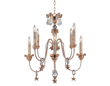 Elstead Mignon 8 Light Chandelier, Aged Gold Leaf Finish - FB/MIGNON8