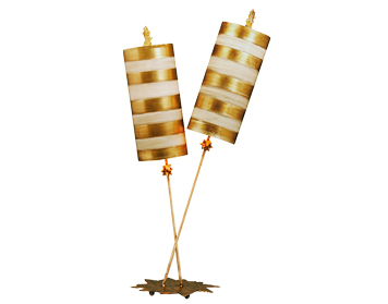 Elstead Nettle 2 Arm Contemporary Table Lamp, Gold Leaf & Taupe Finish With Striped Shades - FB/NETTLELUXG/TL