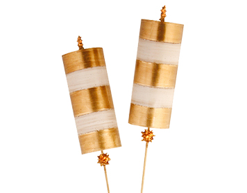 Elstead Nettle 2 Arm Contemporary Floor Lamp, Gold Leaf Finish With Striped Shades - FB/NETTLELX-G/FL