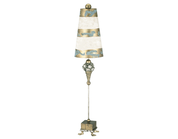 Elstead Pompadour Luxe Table Lamp, Silver White & Gold Finish With Striped Shade - FB/POMPADOUR/TL