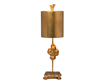 Elstead Flambeau Cross 1 Light Table Lamp,  Gold Leaf Finish With Parchment Shade - FB/CROSS/TL GD