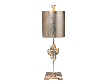 Elstead Flambeau Cross 1 Light Table Lamp,  Silver Leaf Finish With Parchment Shade - FB/CROSS/TL SV