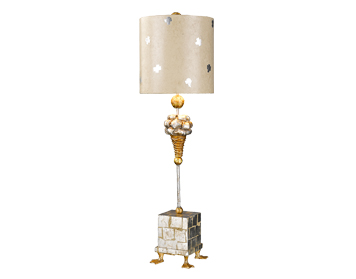 Elstead Flambeau Pompadour X 1 Light Table Lamp, Silver Leaf Finish With Parchment Cylinder Shade - FB/POMPADOURX/TL