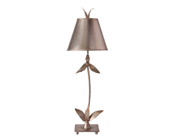 Elstead Flambeau Red Bell 1 Light Table Lamp, Silver Leaf Finish With Matching Shade - FB/REDBELL/TL SV