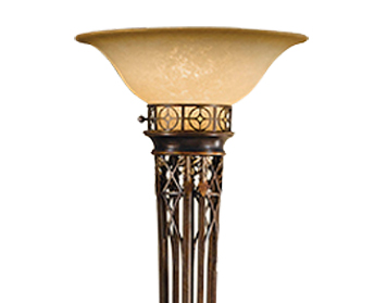 Elstead Opera 1 Light Torchiere Floor Lamp, Firenze Gold Finish With Speckled Champagne Glass Shade - FE/OPERATCH