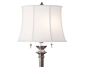 Elstead Stateroom 2 Light Floor Lamp, Antique Nickel Finish With True White Cotton Linen Shade - FE/STATERMFLAN