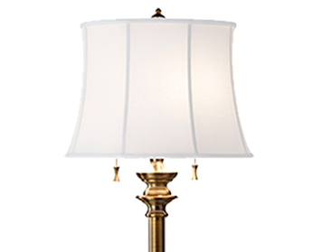 Elstead Stateroom 2 Light Floor Lamp, Bali Brass Finish With White Cotton Linen Shade - FE/STATERMFLBB