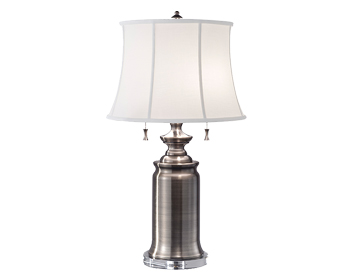Elstead Stateroom 2 Light Table Lamp, Antique Nickel Finish With True White Cotton Linen Shade - FE/STATERMTLAN