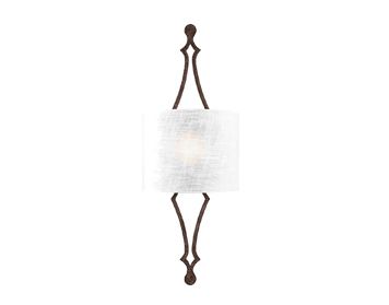 Elstead Feiss Tilling 1 Light Wall Light, Weathered Iron Finish With White Linen Shade - FE/TILLING1 WI