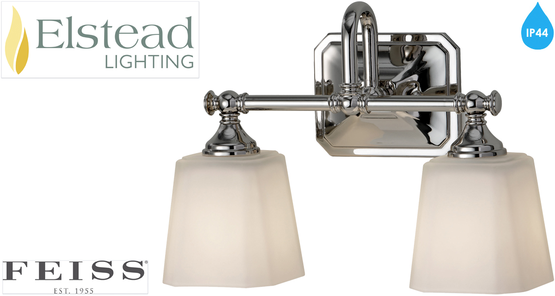 El Nordic Ip44 Mirror With Pull Switch: Elstead Feiss 'Concord' IP44 Rated 2 Light Above Mirror