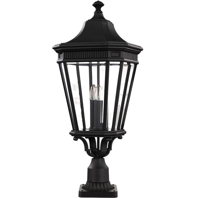 Bedfords Medium Pedestal Lantern In Black: Elstead Feiss 'Cotswold Lane' IP23 Rated Outdoor Medium