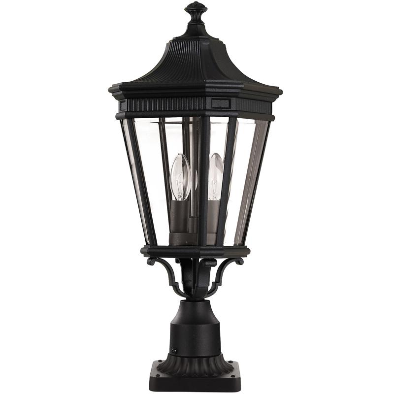 Cheltenham Cast Pedestal Lantern Light Black: Elstead Feiss 'Cotswold Lane' IP23 Rated Outdoor Medium