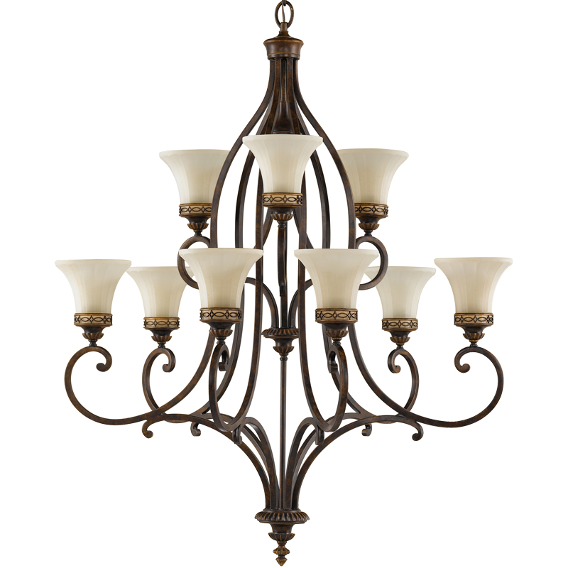 Elstead Feiss Drawing Room 9 Light Chandelier, Walnut - FE/DRAWING RM9