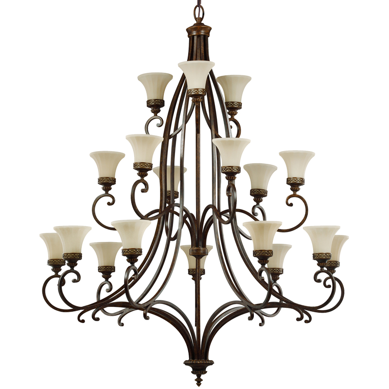 Elstead Feiss Drawing Room 18 Light Chandelier, Walnut - FE/DRAWINGRM18