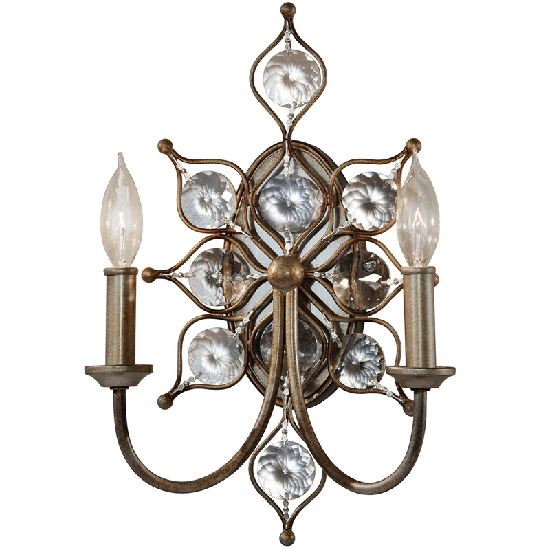 Elstead Feiss Leila 2 Light Wall Light, Burnished Silver Finish - FE/LEILA2