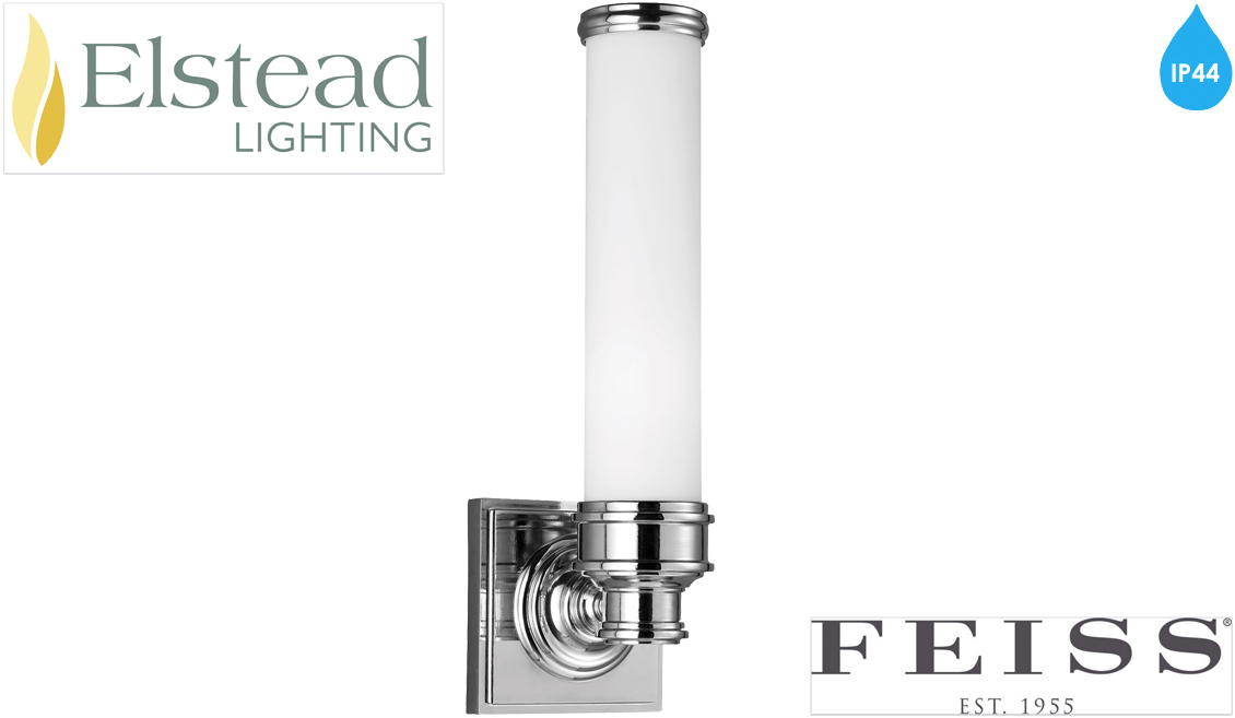 Rectangular Over Mirror Light In Matt Nickel Or Polished Chrome: Elstead Feiss 'Payne' IP44 Rated Single Wall Light