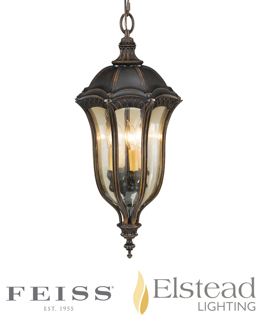 Elstead 'Baton Rouge' 4 Light Pendant With Gold Luster Tinted Glass, Walnut