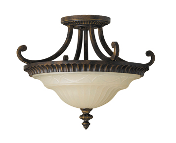 Elstead Feiss Drawing Room 2 Light Indoor Semi Flush Light, Walnut Finish - FE/DRAWINGRM/SFA