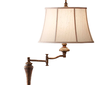 Elstead Gibson SWFL Single Light Floor Lamp, Cambridge Crackle Finish With Desert Linen Fabric Shade - FE/GIBSONSWFL