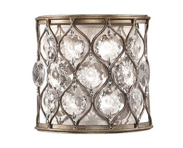 Elstead Feiss Lucia 1 Light Wall Light With Cream Fabric, Burnished Silver Finish - FE/LUCIA1