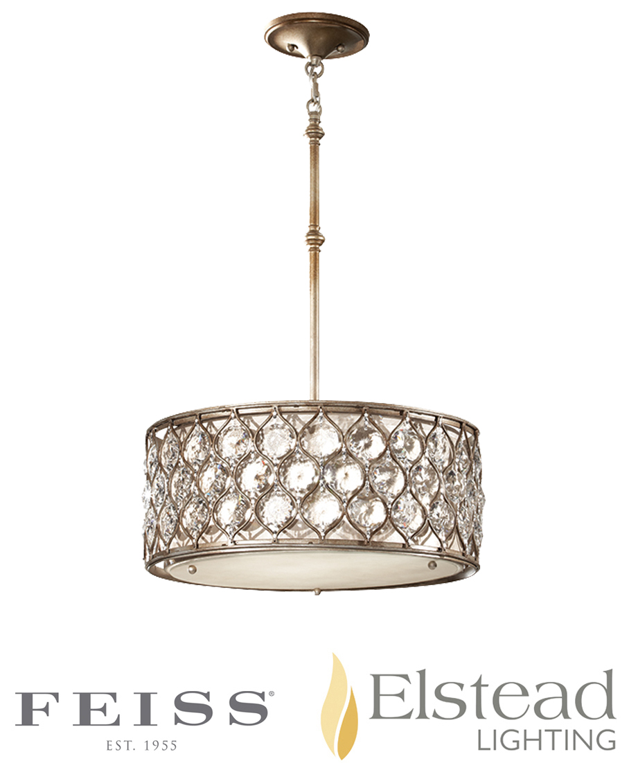 Elstead 39 Lucia 39 3 Light Shade Chandelier Pendant With Beige Fabric B