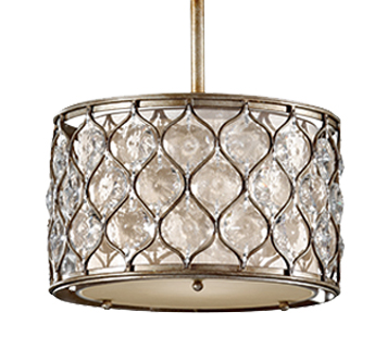 Elstead Feiss 'Lucia' 1 Light Pendant With Linen Fabric, Burnished Silver - FE/LUCIA/P/C
