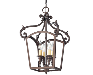Elstead Feiss Luminary 4 Light Pendant Lantern, Oil Rubbed Bronze Finish - FE/LUMINARY/P/A