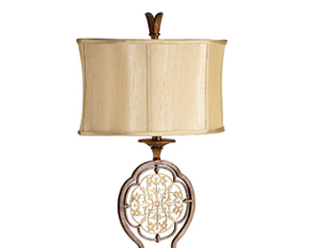 Elstead Feiss Marcella 1 Light Floor Lamp, Oxidized Bronze Finish With Light Gold Oval Shade - FE/MARCELLA/FL