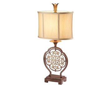 Elstead Feiss Marcella 1 Light Table Lamp, Oxidized Bronze Finish With Light Gold Oval Shade - FE/MARCELLA/TL