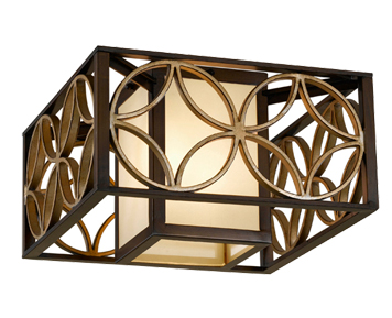 Elstead 'Remy' 2 Light Indoor Flush Ceiling Light With Bronze Organza Fabric, Heritage Bronze/Parissiene Gold - FE/REMY/F