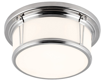 Elstead Brompton Medium Bathroom Flush Ceiling Light, Polished Chrome - FE/WOODWARD/F/M