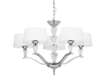 Endon Fiennes 5 Light Ceiling Fitting, Chrome Plate Finish With Crystal Detailing & White Cotton Mix Shades - FIENNES-5NI