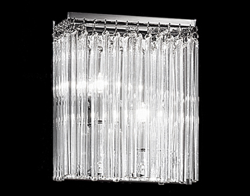 Franklite Carillon 2 Light Wall Light, Smooth Glass Rods Suspended From Chrome Finish Plate - FL2093/2