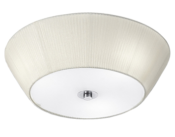 Franklite Flush (490mm) Ceiling Light, Satin Glass With Cream Pleated Shade - FL2134/3