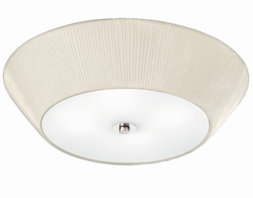 Franklite Flush (600mm) Ceiling Light, Satin Glass With Cream Pleated Shade - FL2134/4