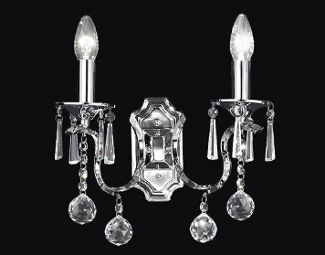 Franklite Taffeta 2 Light Wall Light, Chrome Finish With Crystal Column And Crystal Glass Drops - FL2155/2