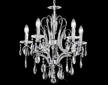 Franklite Brocade 5 Light Ceiling Chrome Finish With Crystal Column And Glass Drops