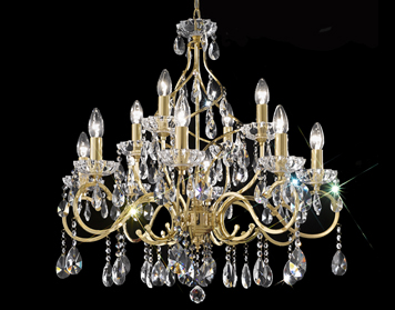 Franklite Chiffon 12 Light Ceiling Light, Gold Finish With Crystal Glass Drops & Faceted Candle Pans - FL2159/12