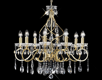 Franklite Chiffon 8 Light Ceiling Light, Gold Finish With Crystal Glass Drops & Faceted Candle Pans - FL2159/8