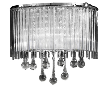 Franklite Spirit 2 Light Wall Light, Chrome Finish With Crystal Glass Drops - FL2161/2